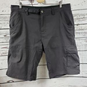 Prana Breathe Gray Activewear 5 Pocket Shorts